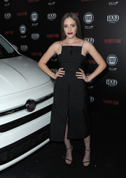 Carly Chaikin looked modern and stylish in an Acler LBD with spaghetti straps and angular neckline during the Vanity Fair and Fiat Young Hollywood celebration.