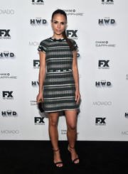 Jordana Brewster attended the Vanity Fair and FX Emmy nominations party wearing a patterned tweed mini dress by Tory Burch.