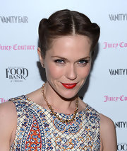Minimal makeup made Katie Aselton's red lips pop at the celebration of the 2013 Vanities Calendar.