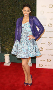 Paula Patton wore this floral fit-and-flare dress to the Vanity Fair anniversary party.