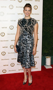 Maggie Grace wore this uniquely textured cocktail dress to the Vanity Fair anniversary party.