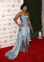 Megan Good wore this shining sky blue gown to the Vanity Fair anniversary party.