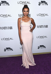 Kat Graham was all about sultry glamour in pale-pink gown with a lacy neckline at the Toast to Young Hollywood event.