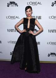 Sofia Carson cut an ultra-feminine figure in a black fit-and-flare gown by Alex Perry at the Toast to Young Hollywood event.