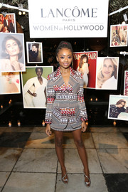 Skai Jackson paired her suit with sexy silver heels.
