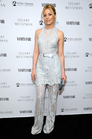 Elizabeth Banks chose a tiered pastel-blue lace jumpsuit by Elie Saab for the Vanity Fair and Stuart Weitzman luncheon.