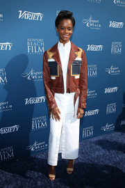 Letitia Wright donned a white maxi shirtdress by Pyer Moss for the Newport Beach Film Festival Fall Honors.