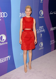 Elizabeth Banks jumped in on the crop-top trend with this chic red number by Dolce & Gabbana during the Variety Power of Women event.