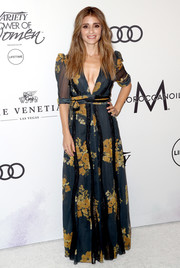 Shiri Appleby looked fetching in a deep-V floral gown at the Variety Power of Women event.