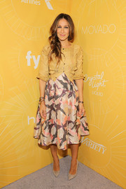 Sarah Jessica Parker looked perfectly styled in a yellow lace-panel blouse by Alice + Olivia layered over a Giles dress at the Variety Power of Women event.