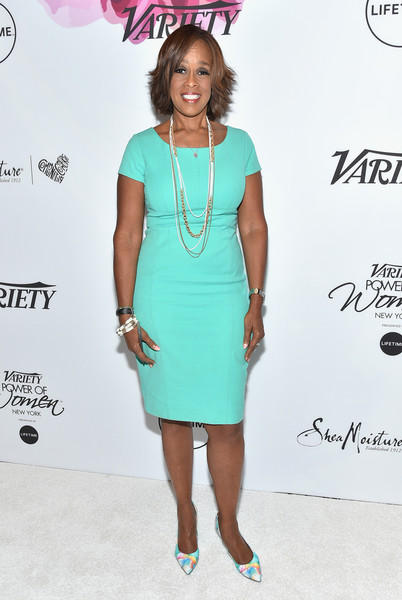More Pics of Gayle King Layered Razor Cut (1 of 3) - Short Hairstyles Lookbook - StyleBistro [clothing,dress,cocktail dress,turquoise,fashion,hairstyle,fashion model,pink,fashion design,footwear,gayle king,power of women: new york,variety,new york city,cipriani midtown]