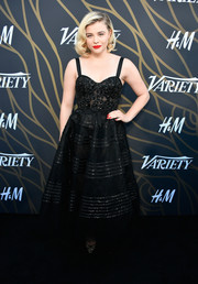 Chloe Grace Moretz got glam in a black corset gown by Marchesa for the Variety Power of Young Hollywood event.