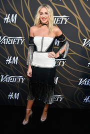 Chloe Lukasiak got frilled up in a fringed black-and-white off-the-shoulder dress by Alexis for the Variety Power of Young Hollywood event.