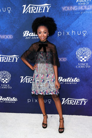 Skai Jackson finished off her ensemble with black platform sandals by Stuart Weitzman.