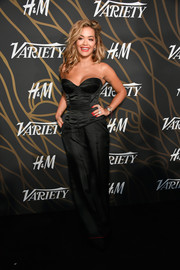 Rita Ora went boudoir-chic in a strapless black corset top for the Variety Power of Young Hollywood event.