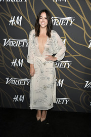 Chloe Bennet was boho-sexy in a beaded nude Elisabetta Franchi dress with a down-to-the-navel neckline at the Variety Power of Young Hollywood event.