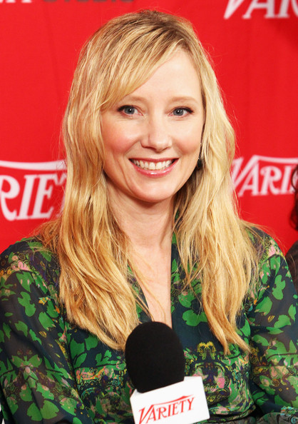 Anne Heche wore her flaxen tresses with a lot of texture and side-swept bangs during the 2012 Sundance Film Festival.