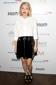 Tavi Gevinson kept her look youthful with a white button-down teamed with a black mini skirt when she visited the Variety Studio.
