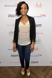 Anika Noni Rose kept it casual in skinny jeans when she visited the Variety Studio.