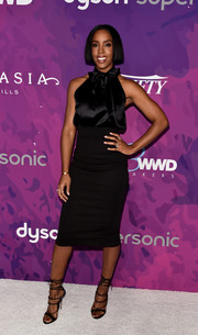 Kelly Rowland looked effortlessly elegant in a black halterneck pussybow blouse at the StyleMakers Awards.