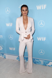 Lea Michele was a knockout in a plunging white suit by Cushnie et Ochs at the Variety and Women in Film pre-Emmy celebration.