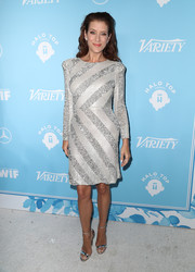 Kate Walsh dazzled in a silver sequin-striped dress at the Variety and Women in Film pre-Emmy celebration.