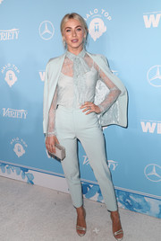 Julianne Hough went for elegant styling with a pair of Christian Louboutin satin sandals.