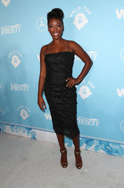 Samira Wiley made an alluring choice with this textured black slip dress for the Variety and Women in Film pre-Emmy celebration.