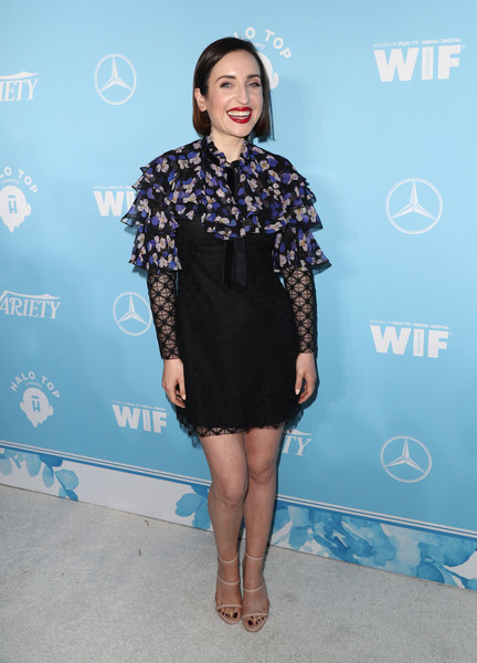 Zoe Lister Jones got frilled up in a Philosophy di Lorenzo Serafini lace mini dress with a floral ruffle neckline for the Variety and Women in Film pre-Emmy celebration.