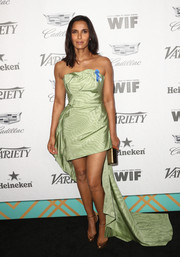 Padma Lakshmi worked a deconstructed-chic strapless high-low gown by Rubin Singer at the Variety and Women in Film pre-Emmy celebration.