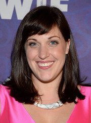 Allison Tolman attended the Variety and Women in Film Emmy nominee celebration wearing a simple straight 'do with flippy ends and baby bangs.
