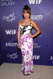 Lea Michele oozed feminine appeal in a mixed-print maxi dress by Narciso Rodriguez at the Variety and Women in Film Emmy nominee celebration.