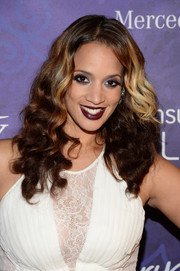 Dashca Polanco was goth-glam with her dark red lipstick.