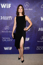 Betsy Brandt showed some skin in an Alice + Olivia LBD featuring an up-to-there slit during the Variety and Women in Film Emmy nominee celebration.