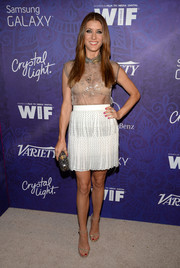 Kate Walsh sealed off her flirty ensemble with a studded white mini, also by Philosophy di Alberta Ferretti.