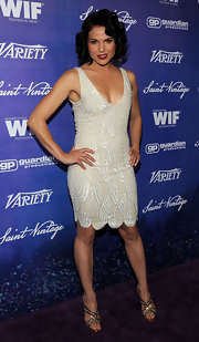 Lana Parrilla embodied 1920s glamour at the Variety pre-Emmy event in a textured nude flapper-style dress.