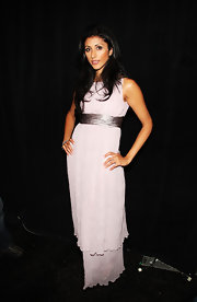 Reshma Shetty channeled her inner diva in this tiered white evening dress at the Venexiana fashion show.