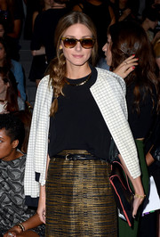 Olivia Palermo made mixed prints look so stylish with this zip-up jacket and skirt combo at the Vera Wang fashion show.