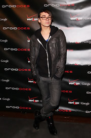 Christian showed off his street chic style while hitting the Droid launch party.