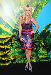 Tinsley Mortimer shined on the red carpet at the Versace for H&M show in beaded cocktail dress.