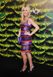 Tinsley Mortimer topped off her chic beaded dress with T-strap sandals.