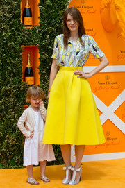 Roksanda Ilincic chose a multicolored geometric-print blouse for the Veuve Clicquot Gold Cup Final.