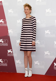 Alba channeled the sixties with this mod-style striped dress.