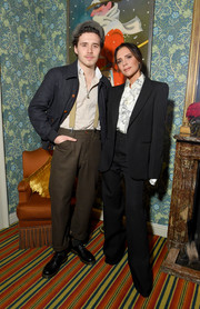 Victoria Beckham went masculine-chic in a black suit from her label at the Victoria Beckham x YouTube Fashion & Beauty after-party.