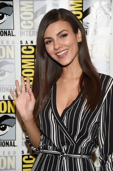 Victoria Justice Sterling Studs [the rocky horror picture show,hair,long hair,brown hair,little black dress,black hair,premiere,style,smile,eyelash,victoria justice,san diego,california,hilton bayfront,comic-con international 2016]