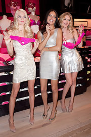 Adriana Lima wore a metallic bandage dress to the Victoria's Secret Valentine's Day event.