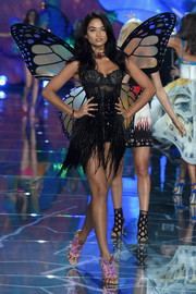 Shanina Shaik shows off wings and lace.