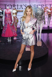 Elsa Hosk looked fierce in a metallic silver tux dress from What Goes Around Comes Around at the Victoria's Secret Shop the Show event.