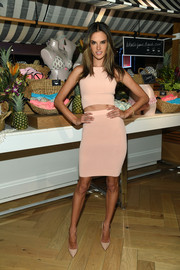 Alessandra Ambrosio was just as sexy on the bottom half in a nude Jonathan Simkhai pencil skirt.