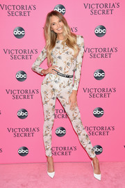 Romee Strijd hit the Victoria's Secret viewing party wearing a printed bodysuit by Off-White.
